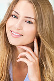 Smiling Beautiful Blond Woman Green Eyes
