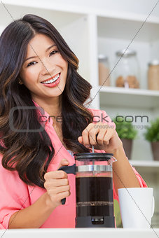 Asian Chinese Woman Girl in Kitchen Making Coffee