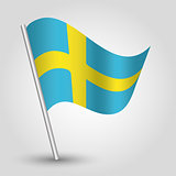 vector 3d waving swedish flag on pole - national symbol of Schweden