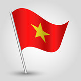 vector 3d waving vietnamese flag on pole - national symbol of Vietnam