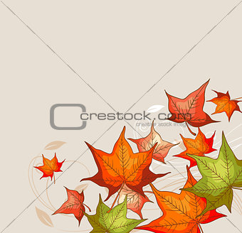 Background with red maple leaves