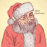 Sketch Santa Claus in vintage style