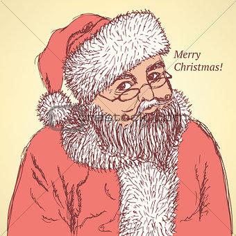 Sketch Santa Claus in vintage style
