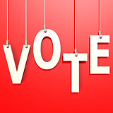 Vote word in red background