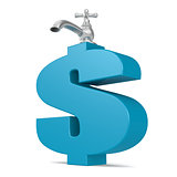 Water tap with blue dollar sign