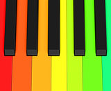 the colorful piano keys