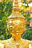Golden statue in Wat Phra Keao in the Grand Palace in Bangkok Th