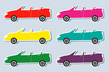 set of colorful sport cabriolet