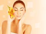 Attractive female in spa salon