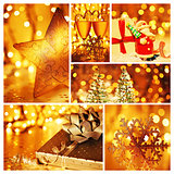 Golden collage of Christmas decorations