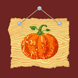 Wooden Sign with Pumpkin