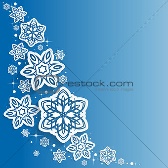 Abstract  Snowflakes Design Vector  Christmas Background