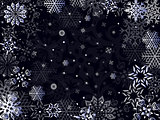 Christmas greeting card in dark blue hues