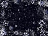 Christmas greeting card in dark blue hues