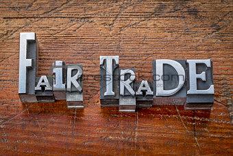 fair trade words in metal type