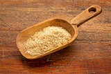 scoop of golden flax seed meal