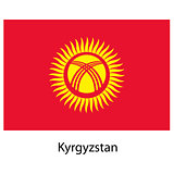 Flag  of the country  kyrgystan. Vector illustration.