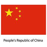 Flag  of the country  people's republic of china. Vector illustr