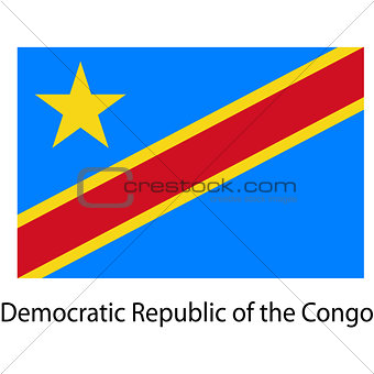 Flag  of the country  democratic republic congo. Vector illustra