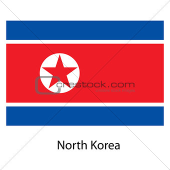 Flag  of the country  north korea. Vector illustration.