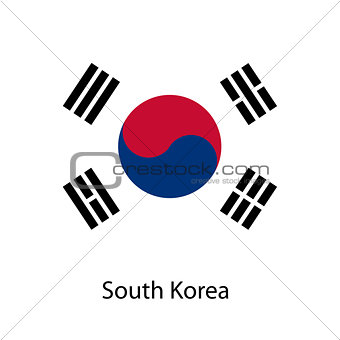 Flag  of the country  south korea. Vector illustration.