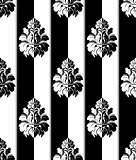 Seamless monochrome damask vintage pattern. Striped