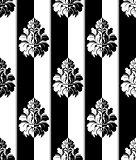 Seamless monochrome damask vintage pattern. Striped