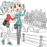 Vector cute girls make selfie in Amsterdam