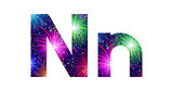 Set of letters, firework, N