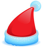 Red Christmas hat with blue trim