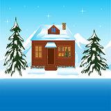 Beautiful house beside yard in winter