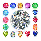 Rectangular composition colored gems set