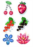 Fruit flowers colored gems brooches set