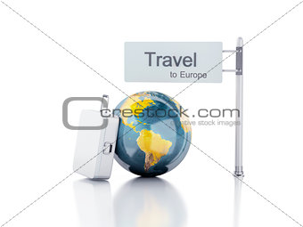 3d travel suitcase and world globe. travel to europe concept