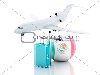 3d Travel Suitcase, plane and mexico flag on white background