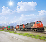 Freight train in Canadian rockies.