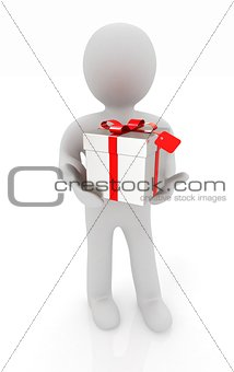 3d man and gift with red ribbon