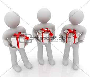 3d mans and gift with red ribbon