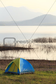 Camping place beside the lake