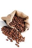coffe beans in brown sack.