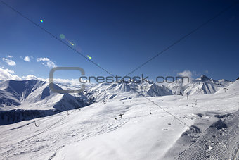 Ski slope in nice evening