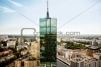 Top of skyscrapter and panorama of city