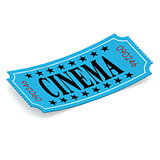 Cinema blue ticket on white background