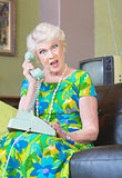 Angry Senior Woman on Phone