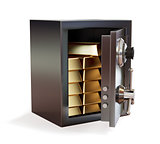 Opened metal safe with gold bars isolated