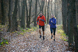 Young Couple Running on the Trail in the Wild Forest