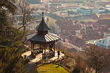 View of gazebo on Schlossberg hill on top of Graz city