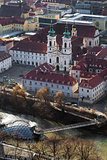 The Mariahilfer church and Island on Mur river connected by a mo