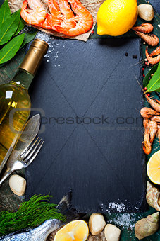 Food background with Seafood and Wine