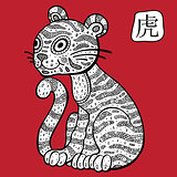 Chinese Zodiac. Animal astrological sign. Tiger.